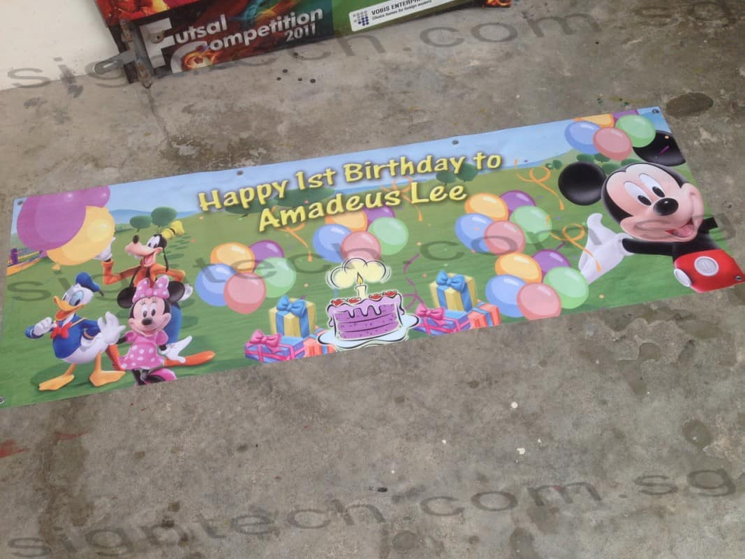 1st birthday banner with mickey mouse design