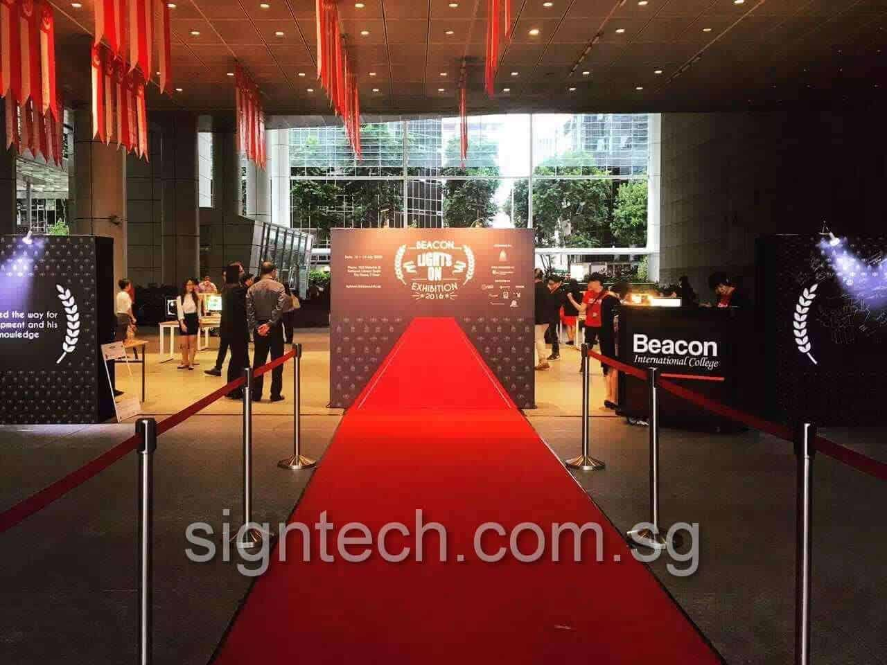 stage backdrop with 3D effects red carpet