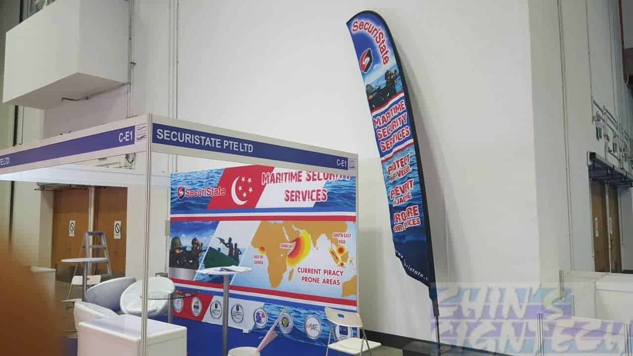 4x2.470 m Fabric banner with Velcro on 4 x 3 Exhibition panels at Marina bay Sands