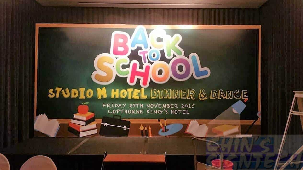 16 x 8ft Backdrop with back to school theme at copthorne king hotel