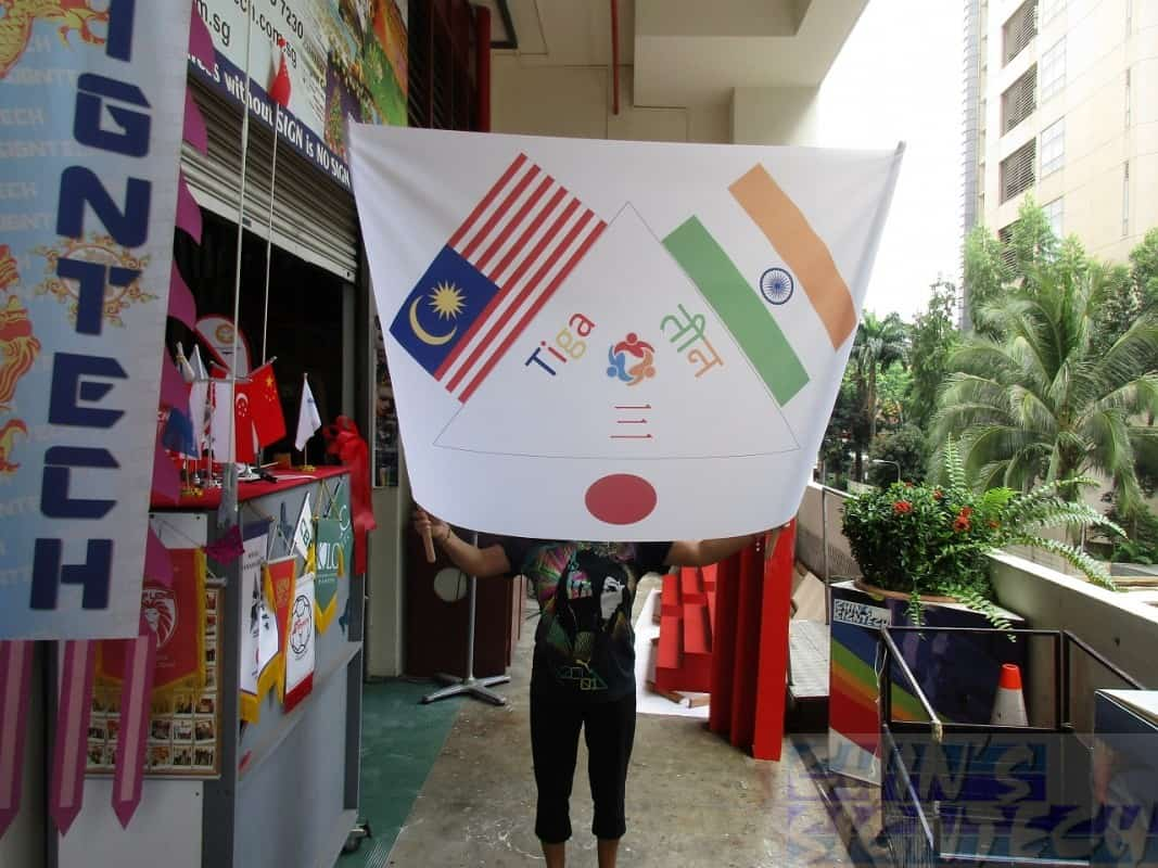 Flag printing with 2 poles for holding