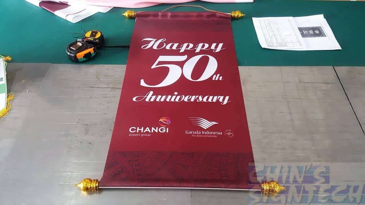 Satin fabric for Lion Dance Scroll use for Changi Airport Group 50th Anniversary