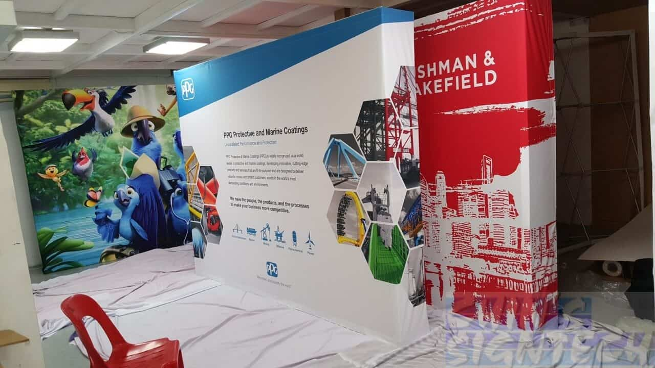 D Printing Exhibition Singapore : We specialize flag and banner stage backdrop printing