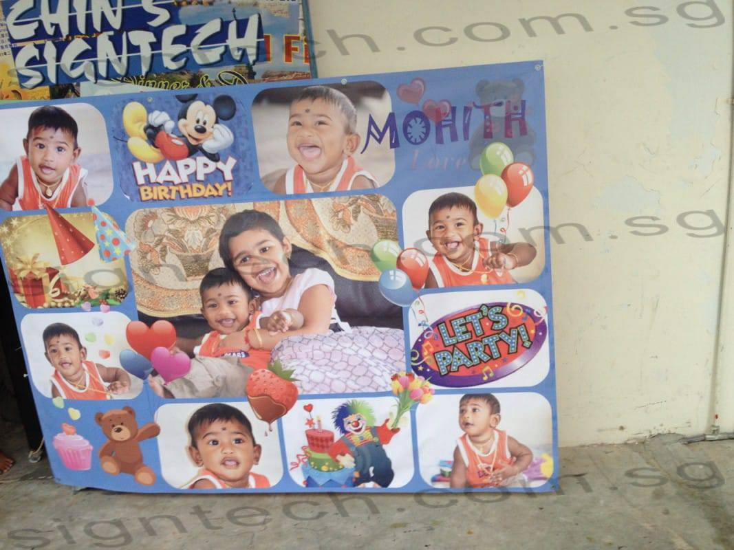 Birthday banner with many photos