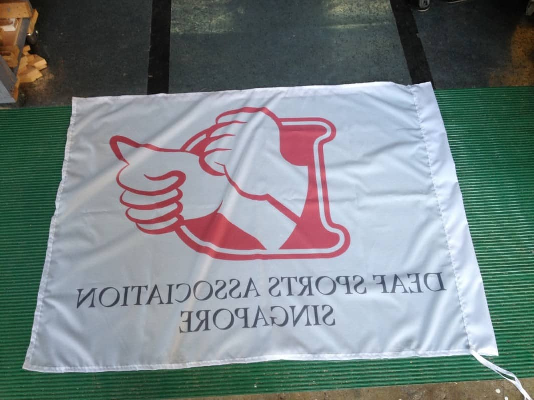 image on reverse side of flag