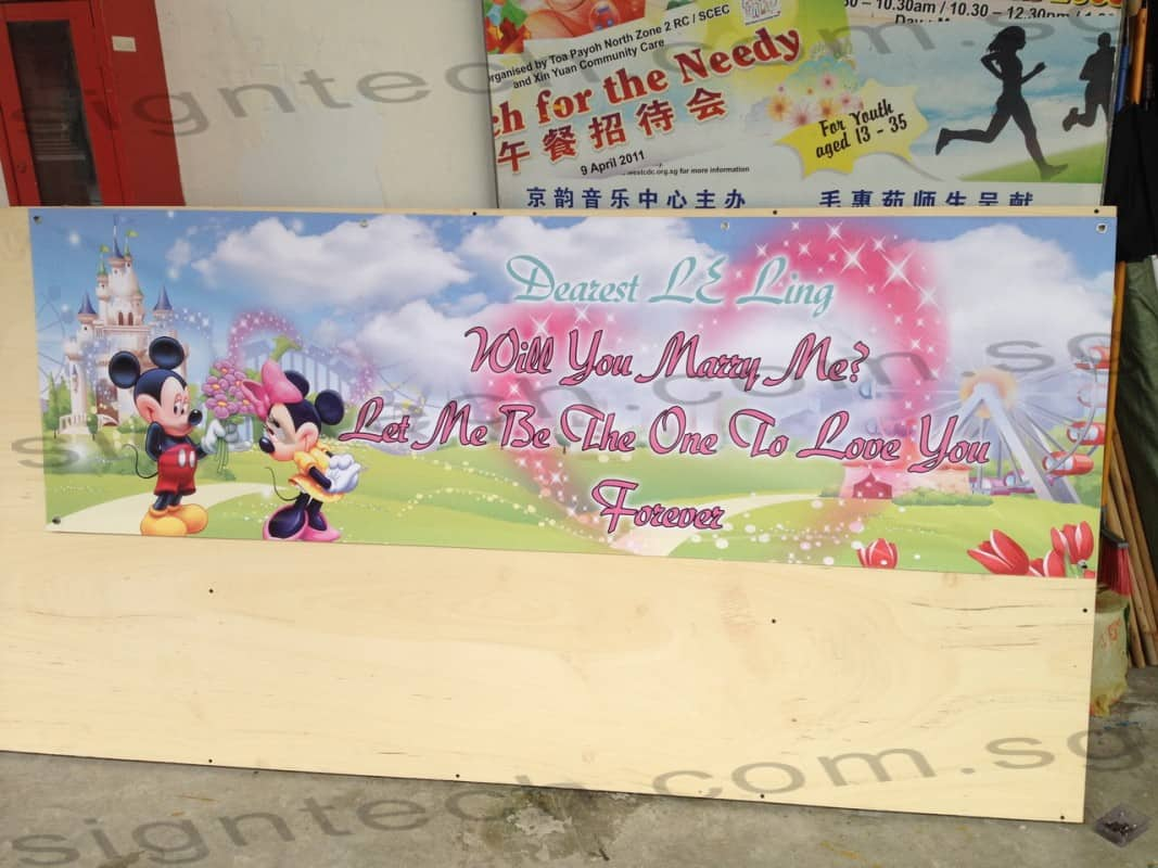 Will you marry me Banner with Mickey Mouse Design