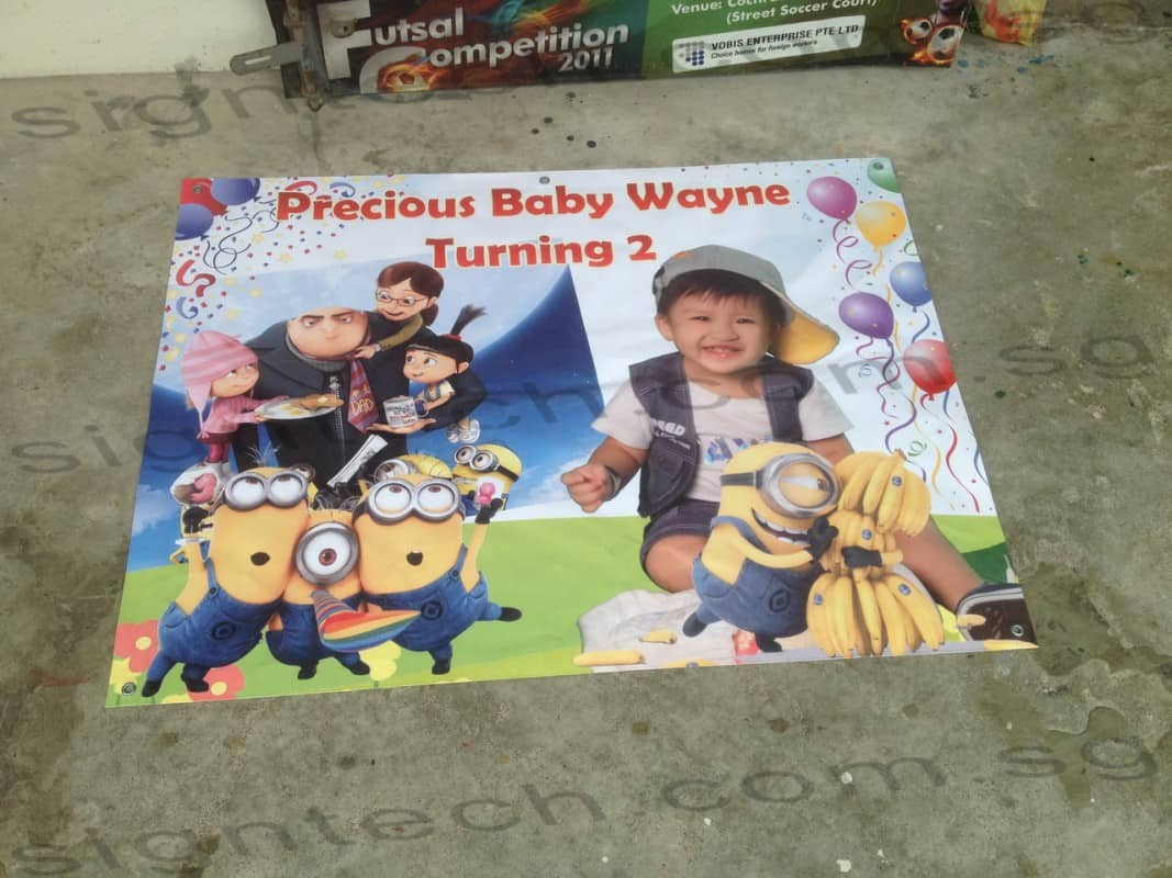 birthday banner with Despicable Me design