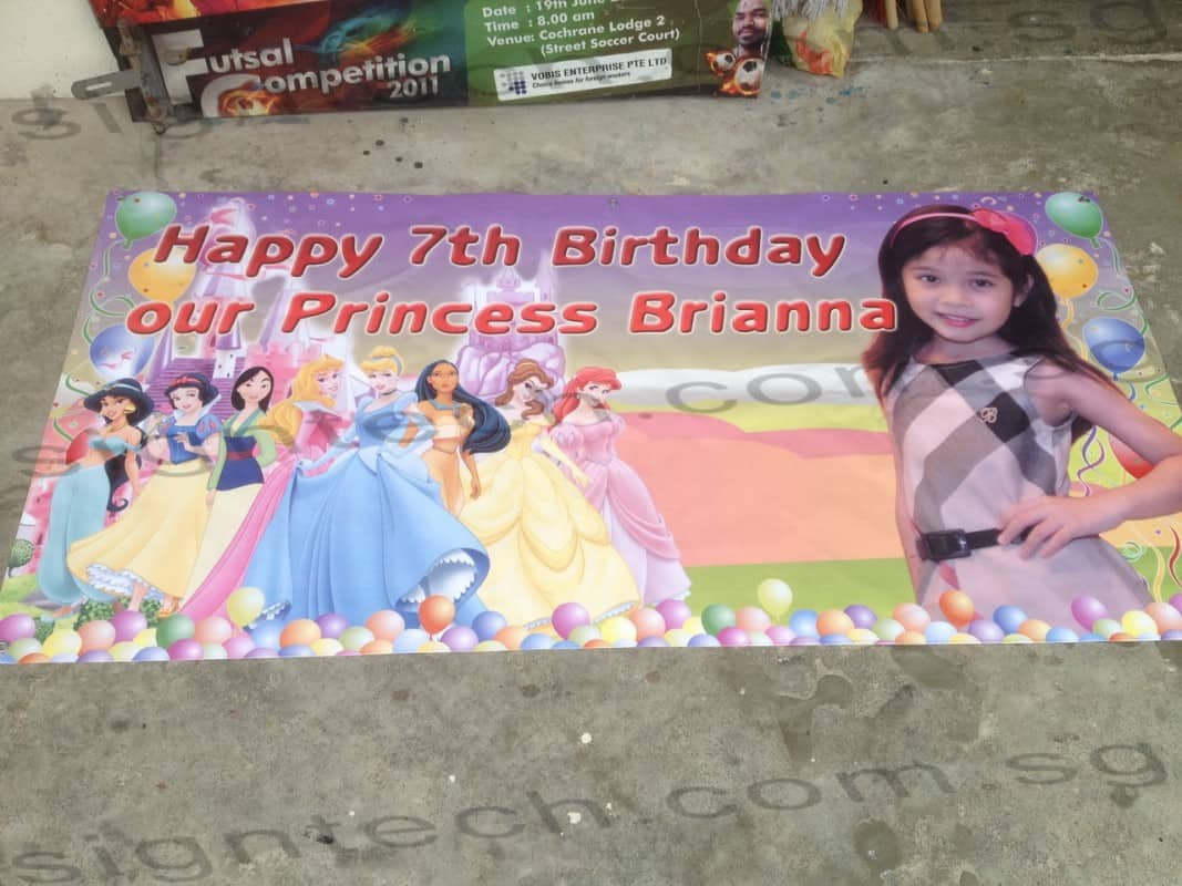birthday banner with Disney Princess design